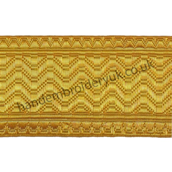 Artillery Gold Metal Wire Braid Lace 50mm for Army, Military, Uniform, Costume, Fancy Dresses