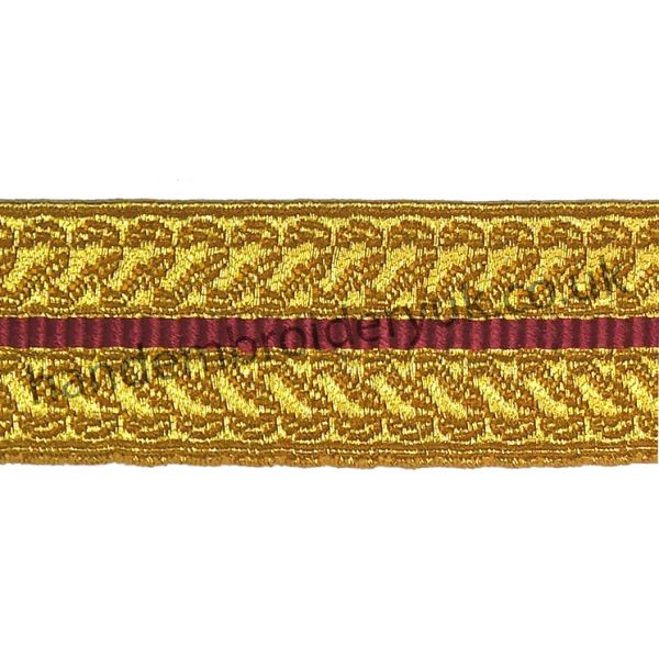 25 mm Infantry Sling Lace Gold Red Mylar Braid Lace