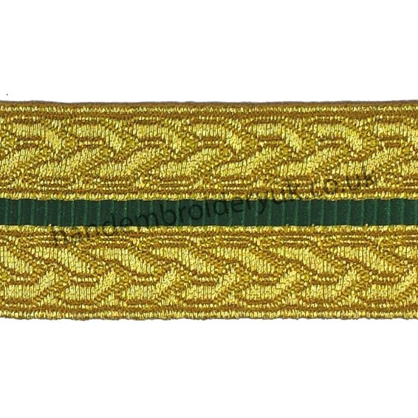 Gold Green Mylar Braid Lace 30 mm for Army, Military, Uniform, Costume, Fancy Dresses