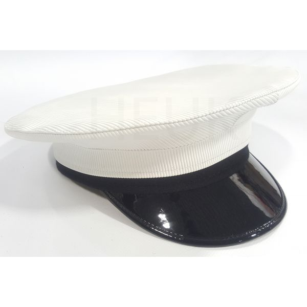 ROYAL NAVY OFFICER CAP, NAVAL PEAKED CAP, R N WHITE CAP MILITARY HAT
