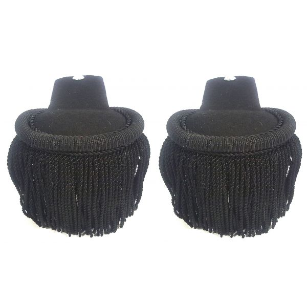 Black Silk Shoulder Epaulettes With Button Hole (Pair)