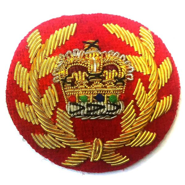Royal Marines WO2 Mess Dress Badge, Gold Bullion on Red