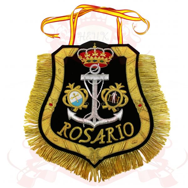 Rosario Catholic Coat Of Arms Crest Banners, Pennant, Bullion Wire Hand Embroidered Flag