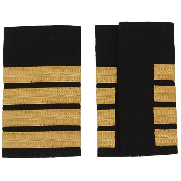 Pilot Captain, Four Bar Gold Strips Pilot Epaulettes