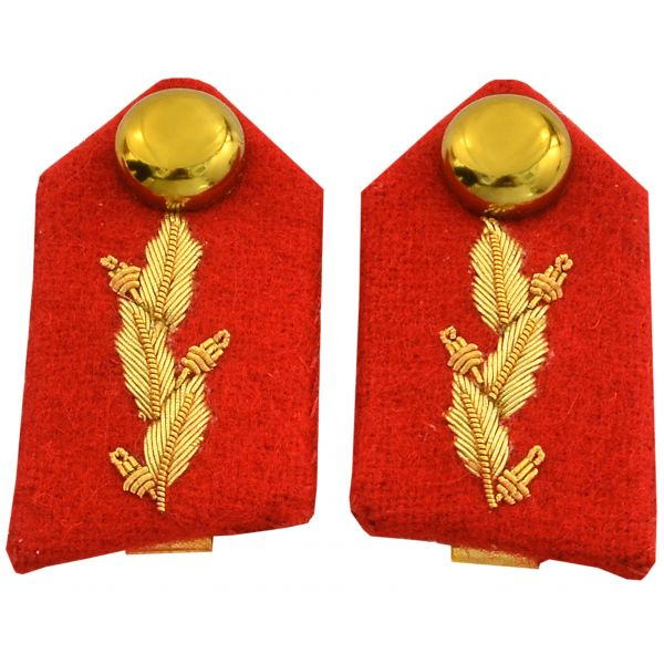 Gorget Collar Red Gold Leaf Patch FAD No. 2 Dress Military Officer Collar
