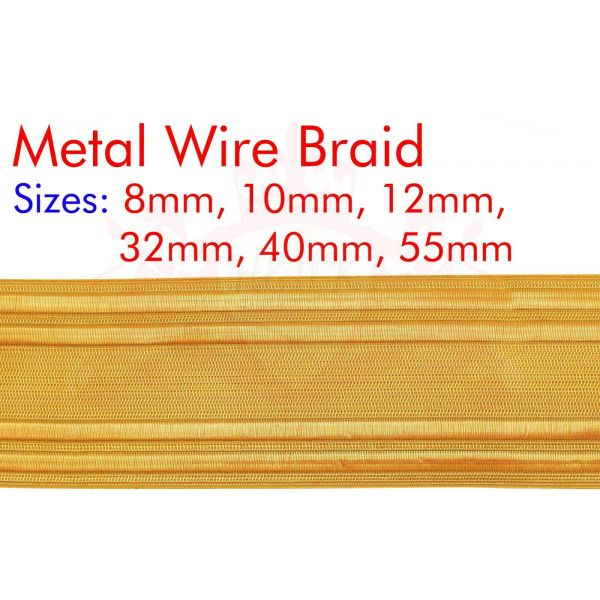 Gold Metal Braid Lace For Military, Army, Uniform, Costume, Fancy Dresses