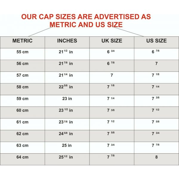 size chart military peak caps